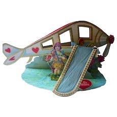 Large Antique 3D Airplane Valentine Card German 1920s