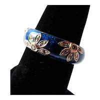 18K White Gold Hidalgo Blue Flower Band 5.5