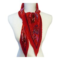 Hermès Bright Red Silk Plissé Scarf with 'Turandot' Motif