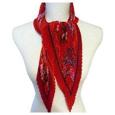 Hermès Bright Red Silk Plissé Scarf with 'Turandot' Motif