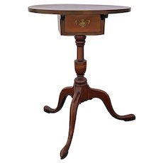 Queen Anne Cherrywood Candlestand With Drawer