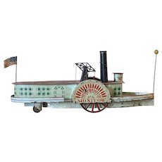 American Tin Toy Sidewheeler Steamboat 'Monitor'