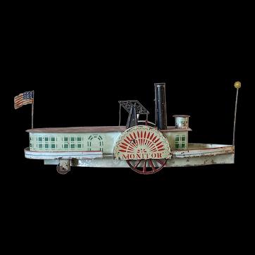American Tin Toy Sidewheeler Steamboat 'Monitor'