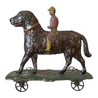 American Tin Pull Toy 'Dog & Jockey'