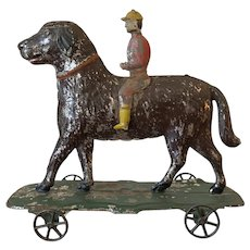 American Tin Pull Toy 'Dog & Jockey'