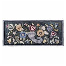 Very Large and Graphic Folk Art Cornucopia Hooked Rug