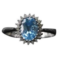 Vintage Topaz Diamond Princess Ring 10k White Gold 60s Size 7 Alternative Engagement Ring Boho