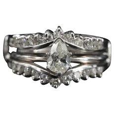 Vintage Bridal Set 1.74 ctw Diamond Engagement Ring Boho Wedding Princess Ring Set