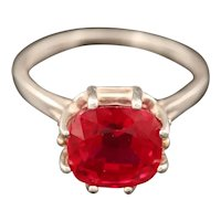 Vintage Cherry Ruby Solitaire Ring Size 9.25 US