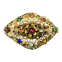 Vintage Colorful Glass Rhinestone Brass Brooch 1930s