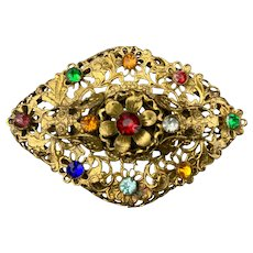 Vintage Colorful Glass Rhinestone Brass Brooch 1930s