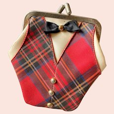 Vintage Little Mister Plaid Tuxedo Coin Purse