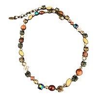Vintage Sorrelli Crystal Sun Stone Link Necklace