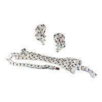 Vintage Leopard Rhinestone Bracelet Earrings Set Big Cat Figural