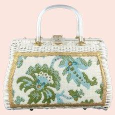 Fantastic Vintage White Wicker 50s Lucite Purse Floral Carpet Bag