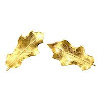 Vintage Gold Leaf Fall Earrings