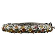 Vintage Sterling Silver Yellow, Orange and Green Sapphire Bangle Bracelet