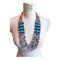Vintage Boho Multistrand Beaded Bib Necklace