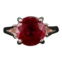 HUGE Vintage Ruby Ring Solitaire 6.5