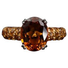 Vintage Amber Citrine Sterling Silver Pave Dinner Ring