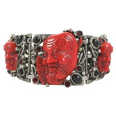 Vintage Selro Red Devil Noh Okina Mask Bracelet COLLECTOR's Piece in MINT Condition
