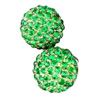 Vintage Emerald Green Pave Crystal Button Earrings