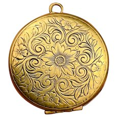Large Round Vintage Floral Brass Locket