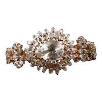Vintage Sterling Silver Clear Quartz Cuff Statement Chunky Bracelet