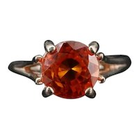 Vintage Fiery Orange Sapphire Solitaire Sterling Silver Ring 6.75