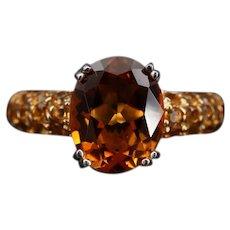 Vintage Amber Citrine Sterling Silver Pave Dinner Ring