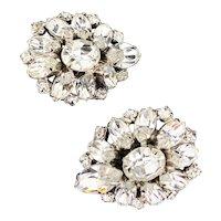 Vintage Rhinestone Cluster Bridal Earrings