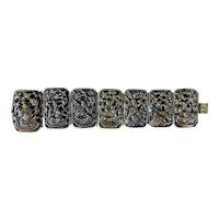 Vintage Brass Asian Panel Oriental Scenery Art Link Bracelet