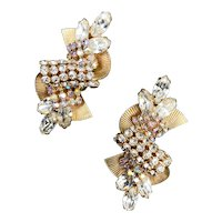 1950s Hobé Rhinestone Showgirl Old Hollywood Earrings