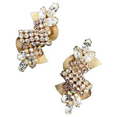1950s Hobé Rhinestone Showgirl Old Hollywood Earrings
