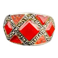 Vintage Sterling Silver Carnelian Marcasite Ring 9