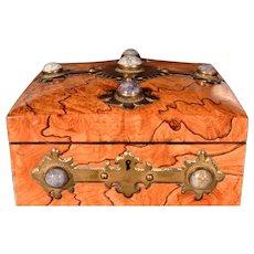 Arts & Crafts Olive Wood Cigar Box set with Lepidolite Cabochons by Scottish Maker