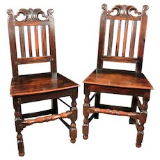 Pair of 17th Century West Country Joined Oak Chairs