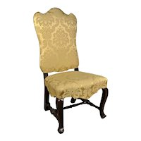 William and Mary Period Chair with Pale Emerald Gold Upholstery c. 1690