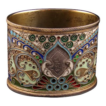 Russian Solid Silver Gilt & Cloisonne Oval Pot in the Manner of Faberge c. 1895