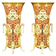 Exemplary Pair Champlevé Napoléon III Trumpet Vases (Sévin/Barbedienne) c. 1870