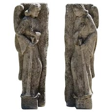 Mystery 18th Century Carved Limestone Angels