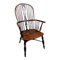 Exceptionally Rare Yew Wood Windsor Chair Branded I. Gabbitass c. 1825