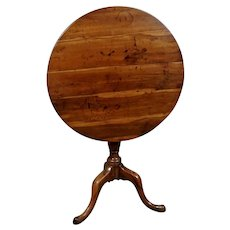 Superb 18th Century Yew Wood Tilt Top Wine Table