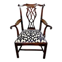 George III Cuban Mahogany Gentleman's Armchair in the Chippendale Manner  c.1765