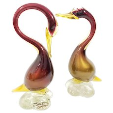 Vintage Murano Mid Century Art Glass Ducks