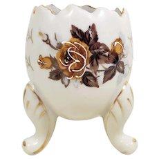 Vintage Napco Cracked Egg Vase, Rose Motif