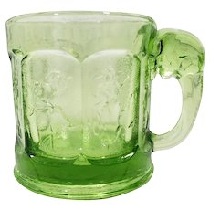 Vintage Imperial/Heisey Green Glass Storybook Mug, Elephant Handle