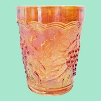 Marigold Carnival Glass Tumbler, Imperial Glass Grape and Leaf #473