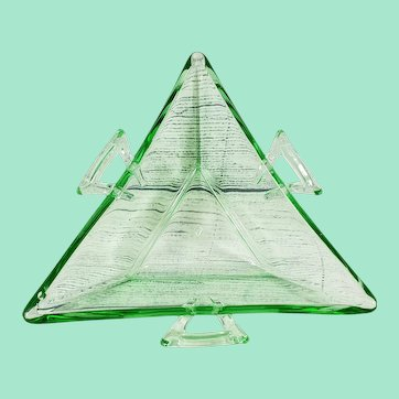Heisey Glass Candy Dish in Moongleam Green
