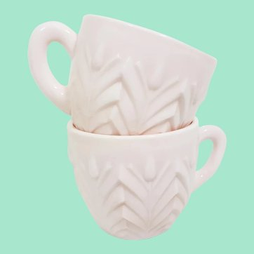Jeannette Glass Shell Pink Punch Cups, Set of 2